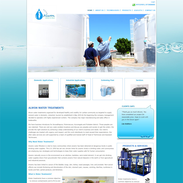 website for a wwater treatment company